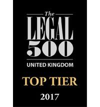 UK legal 500 , top tier, 2017