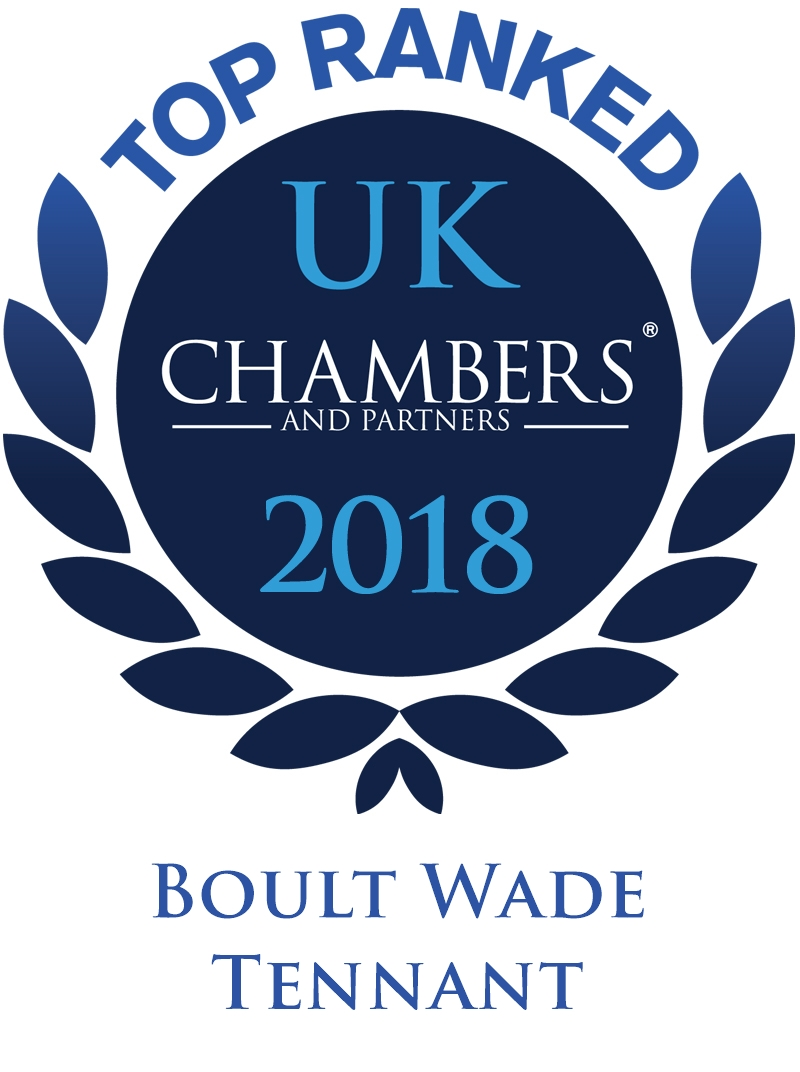 Chambers and Partners logo , top ranked, 2018, Boult